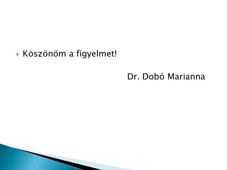  Köszönöm a figyelmet! Dr. Dobó Marianna
