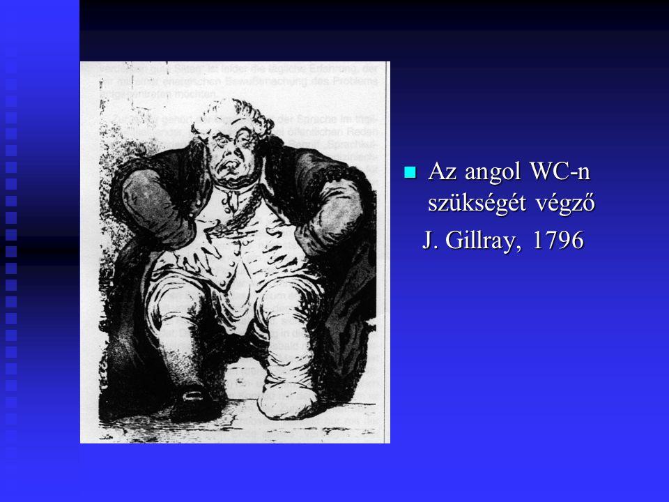 Az angol WC-n szükségét végző J. Gillray, 1796