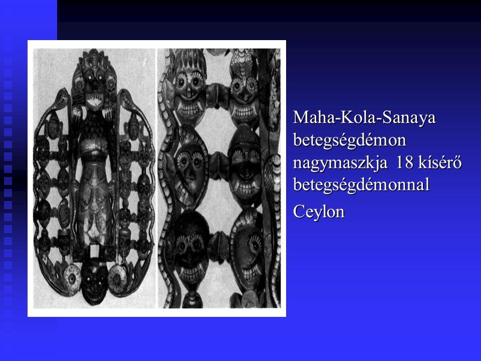 Maha-Kola-Sanaya betegségdémon nagymaszkja 18 kísérő betegségdémonnal Ceylon
