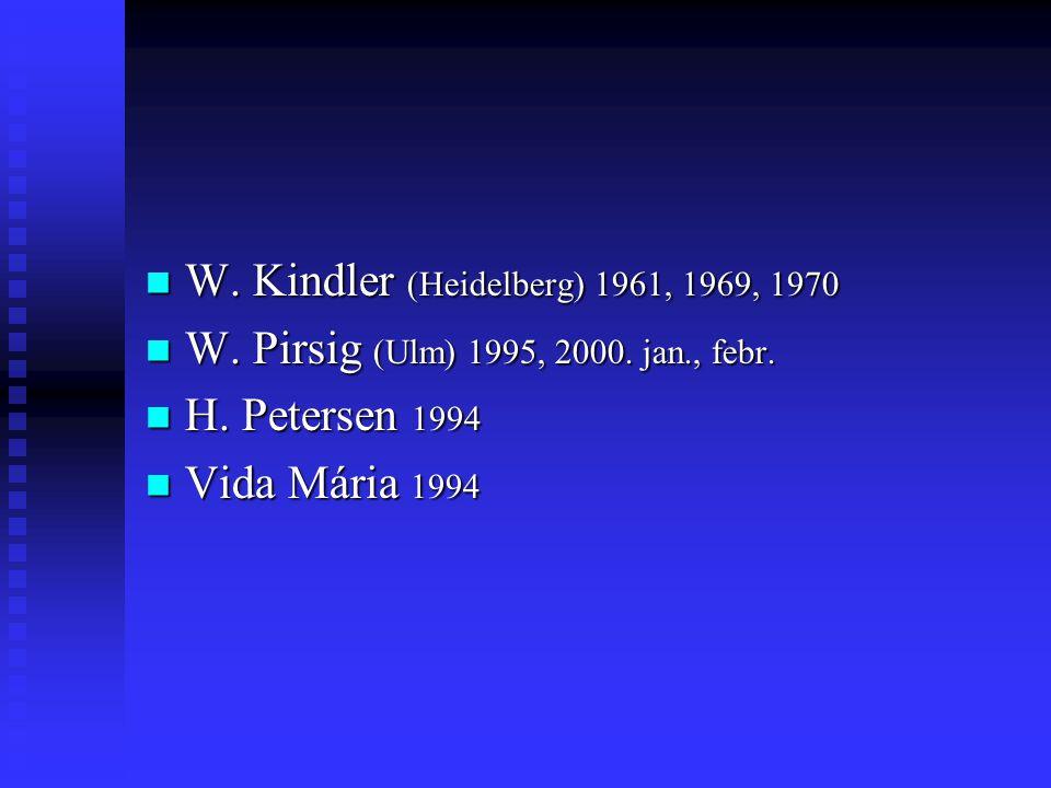 W. Kindler (Heidelberg) 1961, 1969, 1970 W. Kindler (Heidelberg) 1961, 1969, 1970 W.