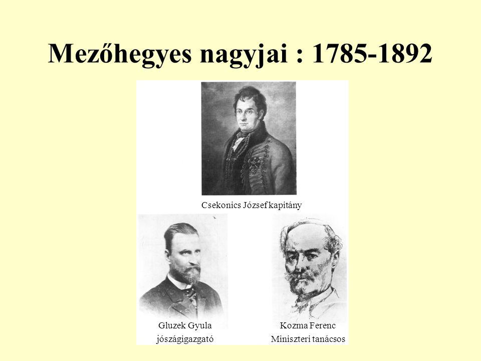 Mezőhegyes nagyjai : 1785-1892 Csekonics József kapitány Gluzek Gyula jószágigazgató Kozma Ferenc Miniszteri tanácsos