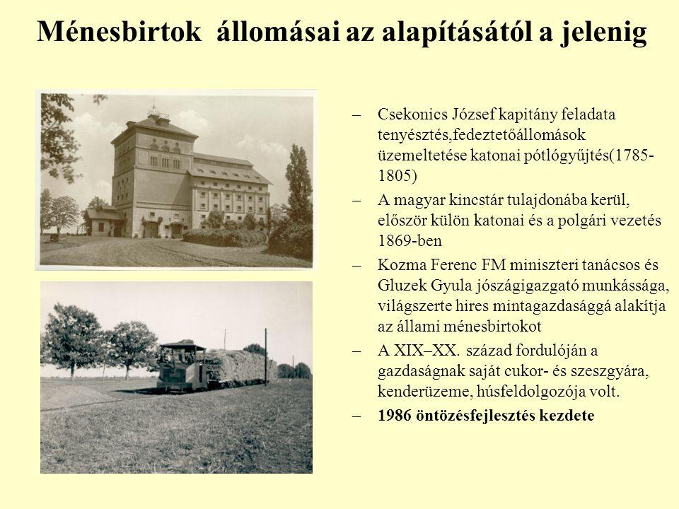 –Csekonics József kapitány feladata tenyésztés,fedeztetőállomások üzemeltetése katonai pótlógyűjtés(1785- 1805) –A magyar kincstár tulajdonába kerül,