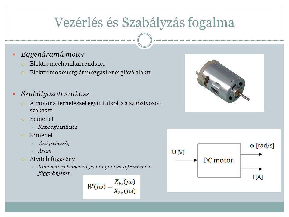 Vezérlés és Szabályzás fogalma Egyenáramú motor  Elektromechanikai rendszer  Elektromos energiát mozgási energiává alakít Szabályozott szakasz  A m