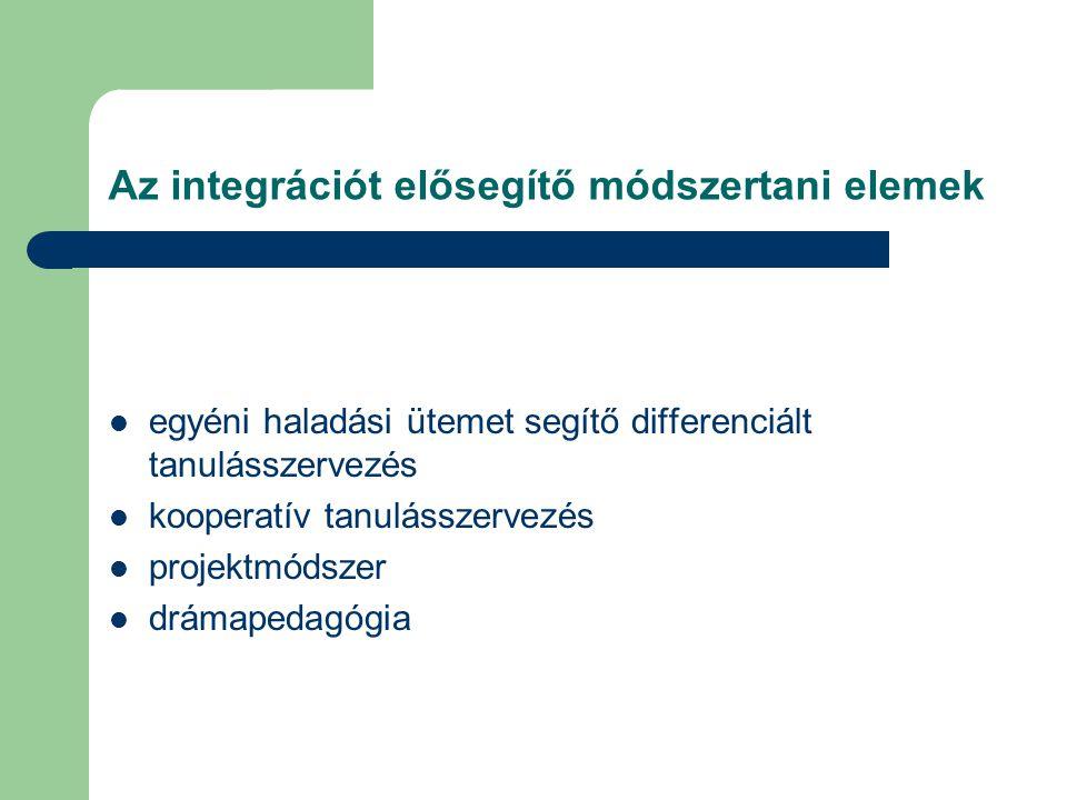 Az integrációt elősegítő módszertani elemek egyéni haladási ütemet segítő differenciált tanulásszervezés kooperatív tanulásszervezés projektmódszer drámapedagógia