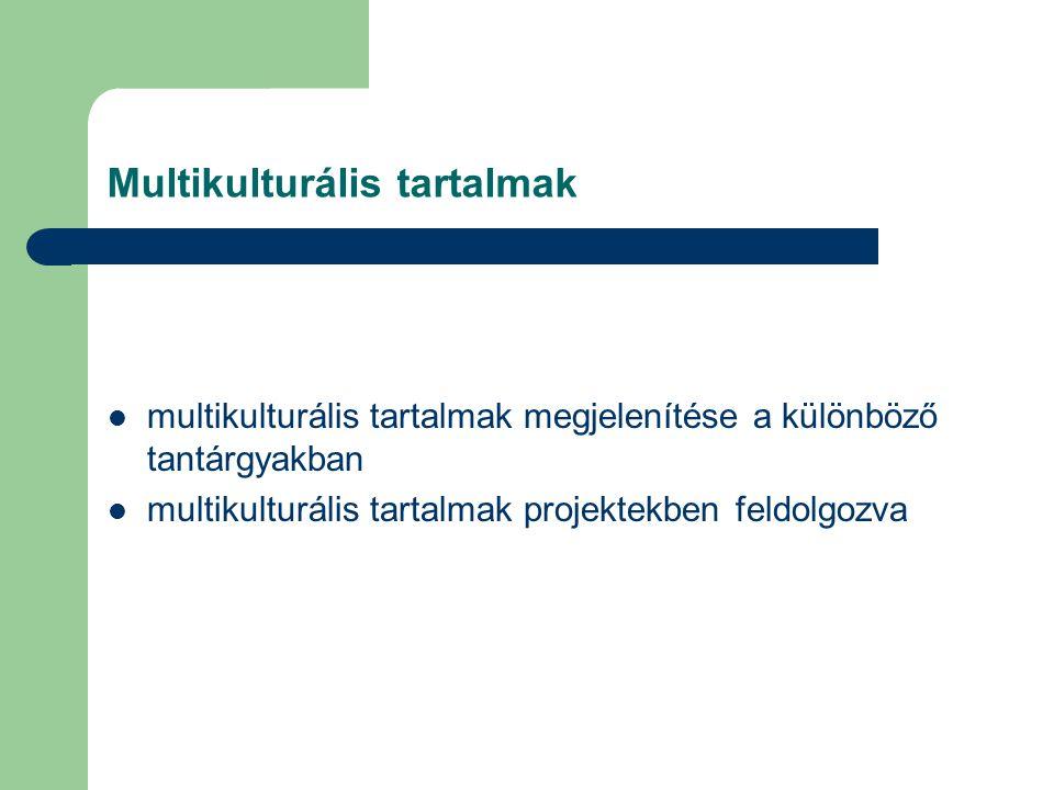 Multikulturális tartalmak multikulturális tartalmak megjelenítése a különböző tantárgyakban multikulturális tartalmak projektekben feldolgozva