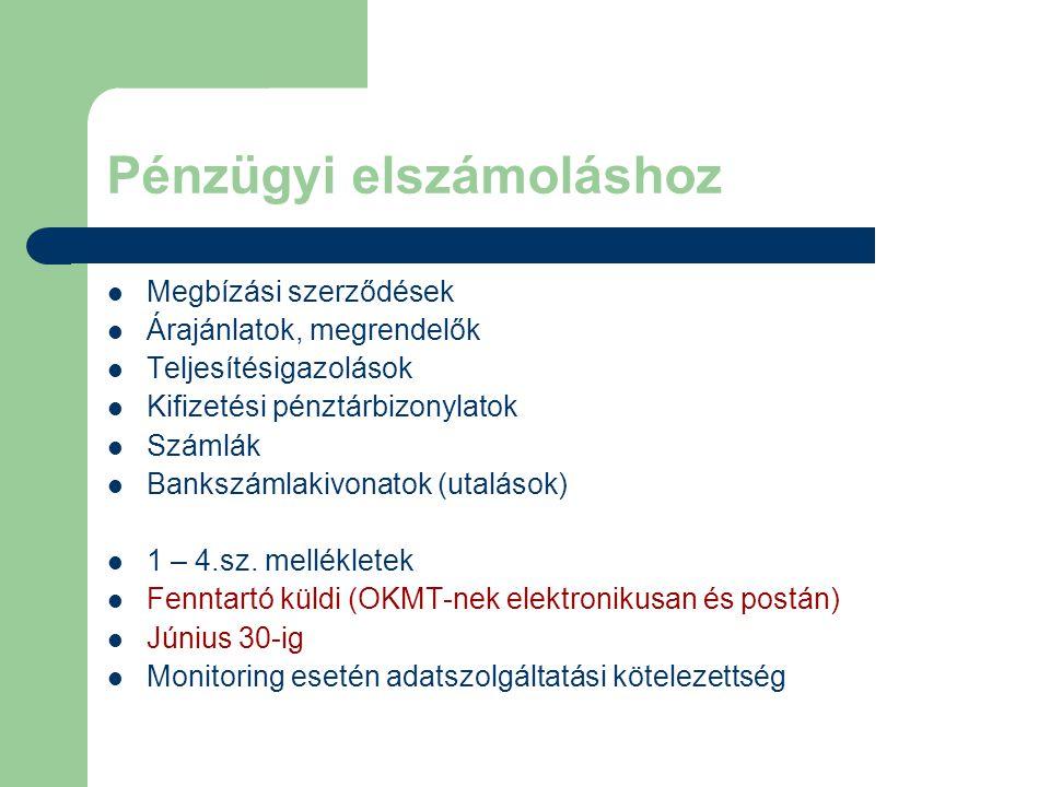 Pénzügyi elszámoláshoz Megbízási szerződések Árajánlatok, megrendelők Teljesítésigazolások Kifizetési pénztárbizonylatok Számlák Bankszámlakivonatok (utalások) 1 – 4.sz.