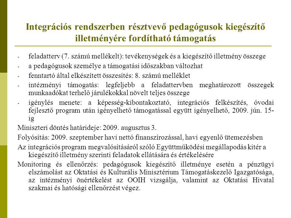 Integrációs rendszerben résztvevő pedagógusok kiegészítő illetményére fordítható támogatás - feladatterv (7. számú mellékelt): tevékenységek és a kieg