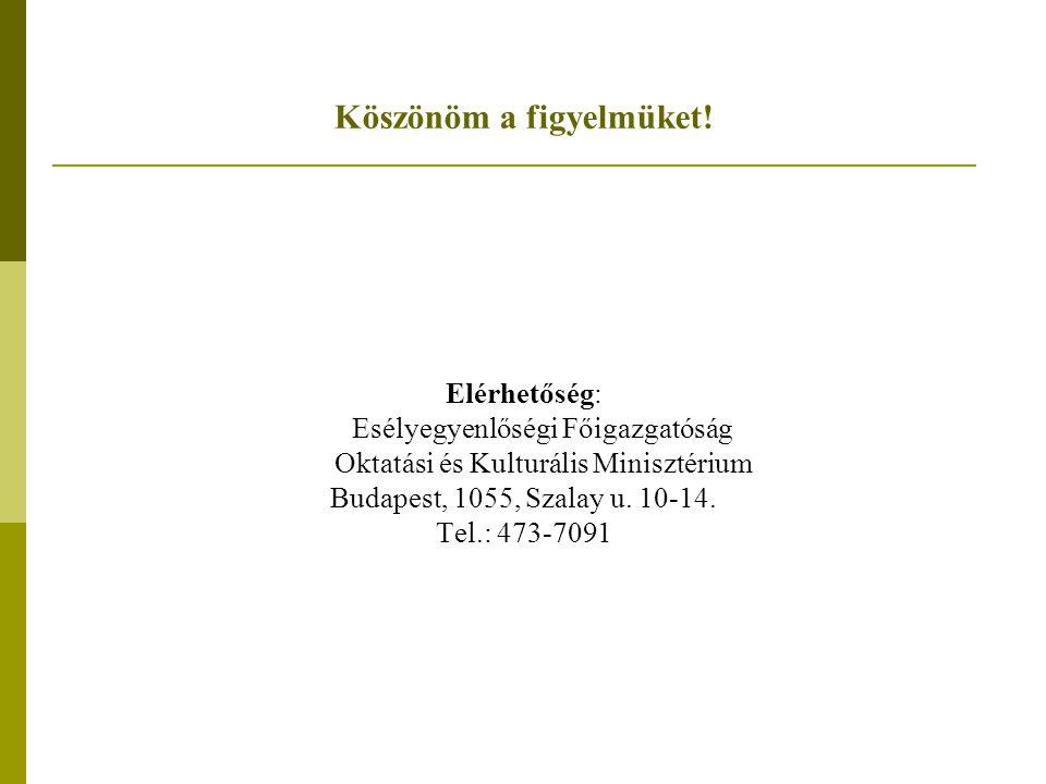 Köszönöm a figyelmüket! Elérhetőség: Esélyegyenlőségi Főigazgatóság Oktatási és Kulturális Minisztérium Budapest, 1055, Szalay u. 10-14. Tel.: 473-709