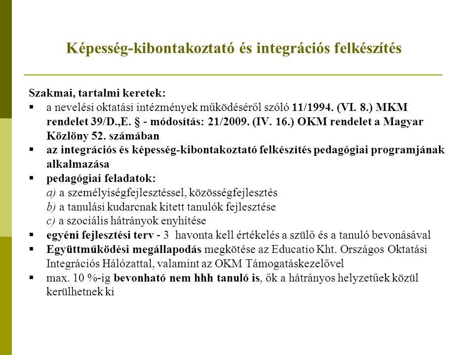 Képesség-kibontakoztató és integrációs felkészítés Szakmai, tartalmi keretek:  a nevelési oktatási intézmények működéséről szóló 11/1994. (VI. 8.) MK