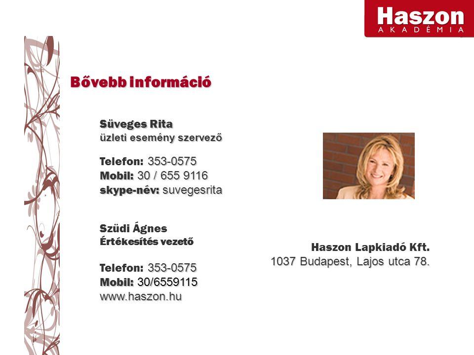 Bővebb információ Süveges Rita üzleti esemény szervező 353-0575 Telefon: 353-0575 Mobil: 30 / 655 9116 skype-név: suvegesrita Haszon Lapkiadó Kft.