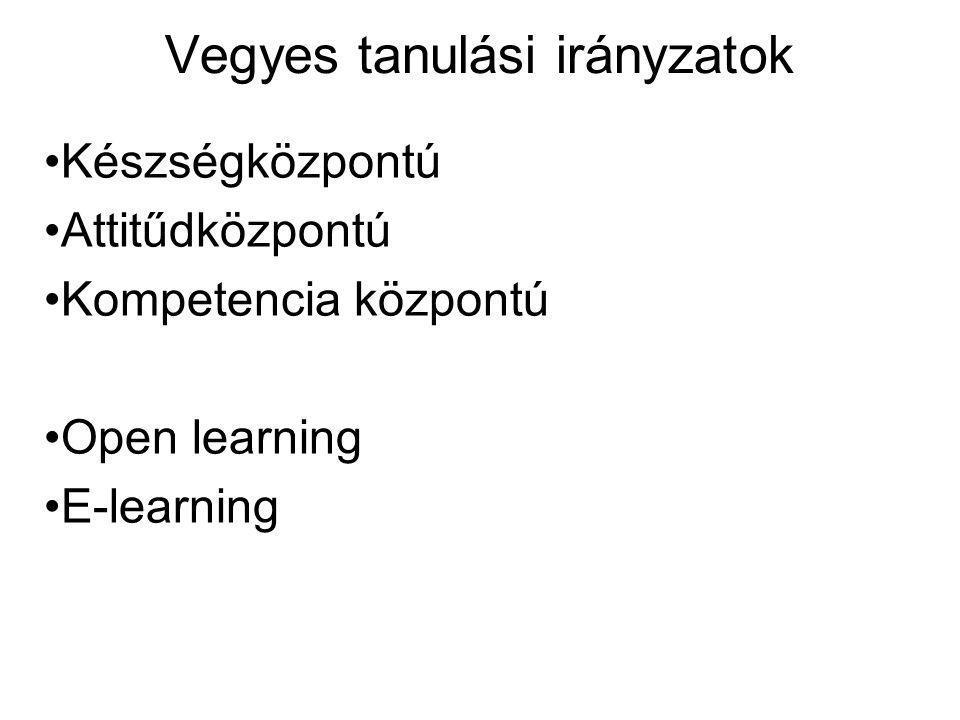 Vegyes tanulási irányzatok Készségközpontú Attitűdközpontú Kompetencia központú Open learning E-learning