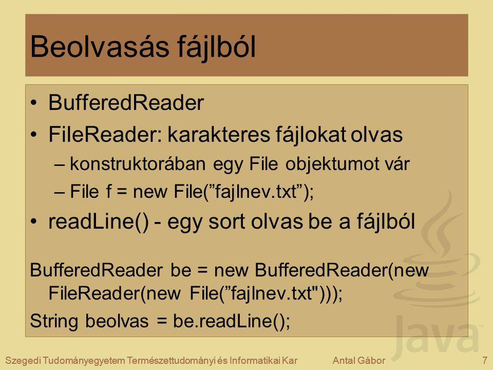 Szegedi Tudományegyetem Természettudományi és Informatikai KarAntal Gábor7Szegedi Tudományegyetem Természettudományi és Informatikai KarAntal Gábor Beolvasás fájlból BufferedReader FileReader: karakteres fájlokat olvas –konstruktorában egy File objektumot vár –File f = new File( fajlnev.txt ); readLine() - egy sort olvas be a fájlból BufferedReader be = new BufferedReader(new FileReader(new File( fajlnev.txt ))); String beolvas = be.readLine(); Szegedi Tudományegyetem Természettudományi és Informatikai KarAntal Gábor7