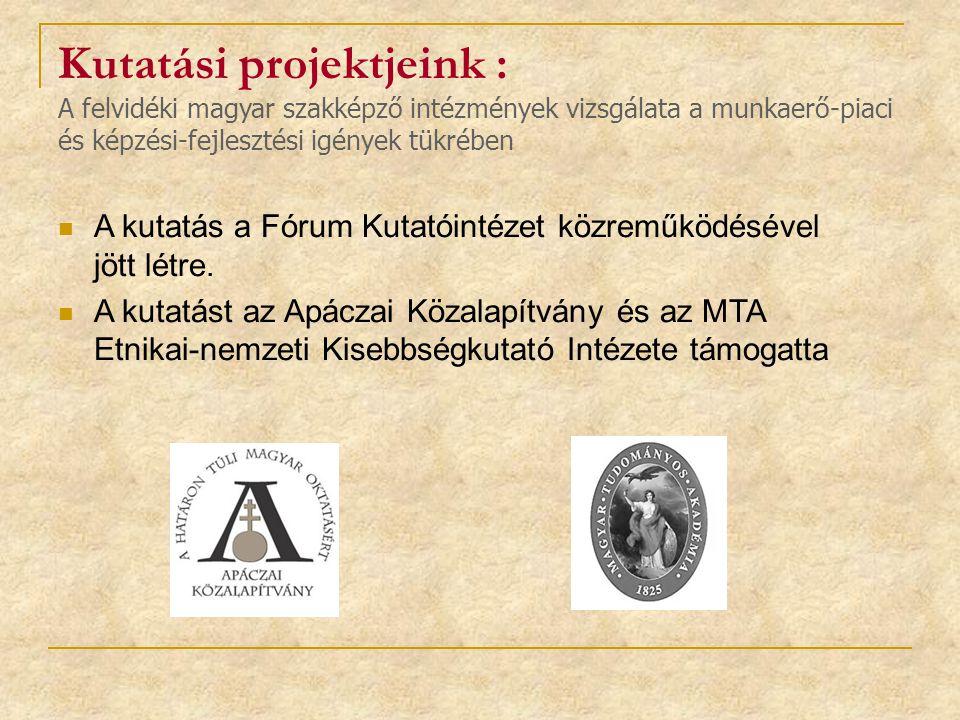 Kutatási projektjeink : A felvidéki magyar szakképző intézmények vizsgálata a munkaerő-piaci és képzési-fejlesztési igények tükrében A kutatás a Fórum Kutatóintézet közreműködésével jött létre.