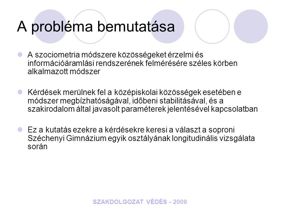 SZAKDOLGOZAT VÉDÉS - 2009 A probléma bemutatása A szociometria módszere közösségeket érzelmi és információáramlási rendszerének felmérésére széles kör