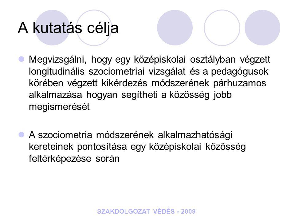 SZAKDOLGOZAT VÉDÉS - 2009 A kutatás célja Megvizsgálni, hogy egy középiskolai osztályban végzett longitudinális szociometriai vizsgálat és a pedagógus