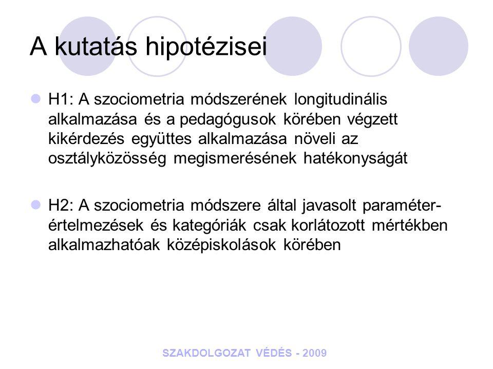 SZAKDOLGOZAT VÉDÉS - 2009 A kutatás hipotézisei H1: A szociometria módszerének longitudinális alkalmazása és a pedagógusok körében végzett kikérdezés
