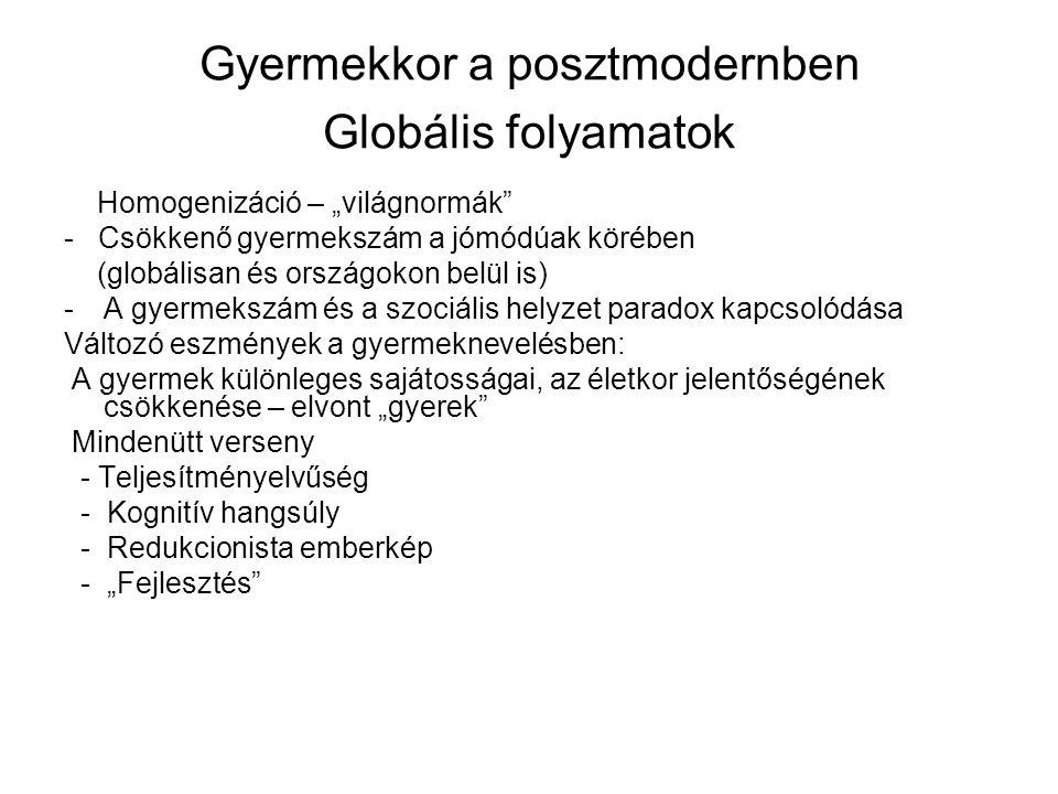 """Gyermekkor a posztmodernben Globális folyamatok Homogenizáció – """"világnormák"""" - Csökkenő gyermekszám a jómódúak körében (globálisan és országokon belü"""