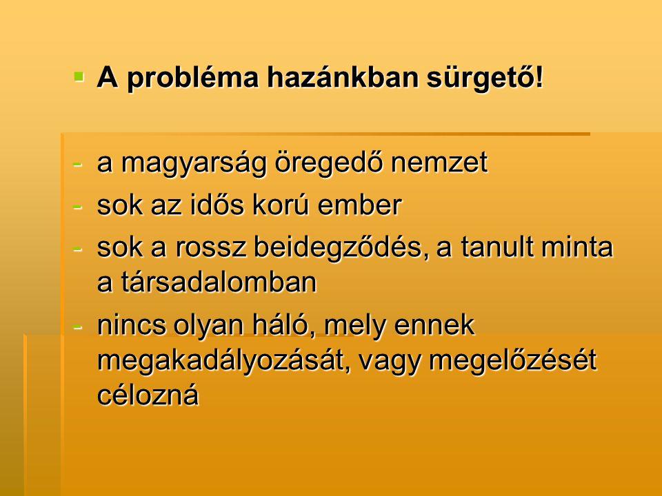  A probléma hazánkban sürgető! -a magyarság öregedő nemzet -sok az idős korú ember -sok a rossz beidegződés, a tanult minta a társadalomban -nincs ol