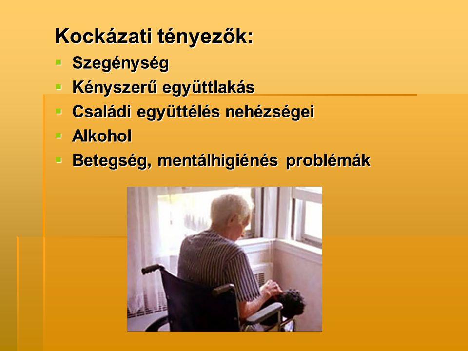 Kockázati tényezők:  Szegénység  Kényszerű együttlakás  Családi együttélés nehézségei  Alkohol  Betegség, mentálhigiénés problémák