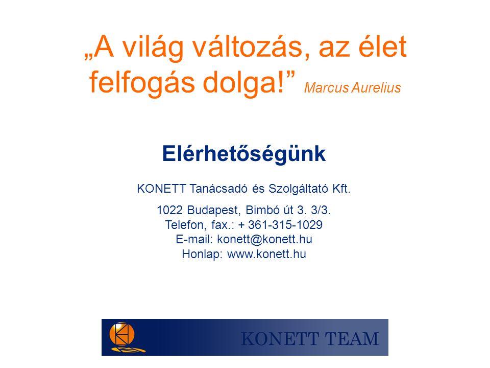 """""""A világ változás, az élet felfogás dolga!"""" Marcus Aurelius Elérhetőségünk KONETT Tanácsadó és Szolgáltató Kft. 1022 Budapest, Bimbó út 3. 3/3. Telefo"""