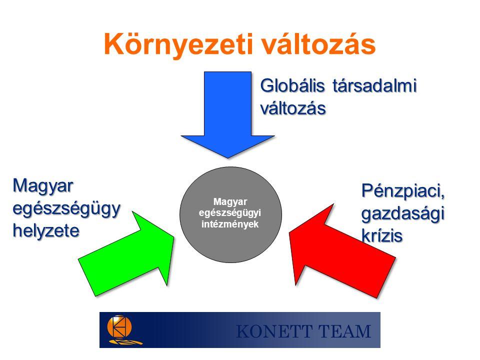 Magyar egészségügyi intézmények Globális társadalmi változás Magyar egészségügy helyzete Pénzpiaci,gazdaságikrízis Környezeti változás