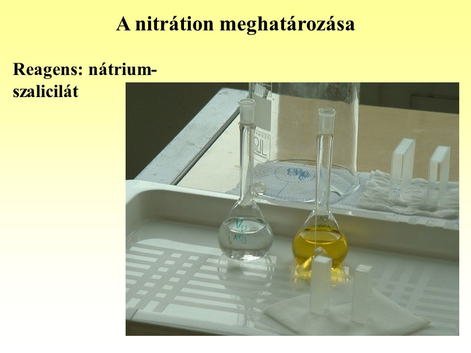 A nitrátion meghatározása Reagens: nátrium- szalicilát
