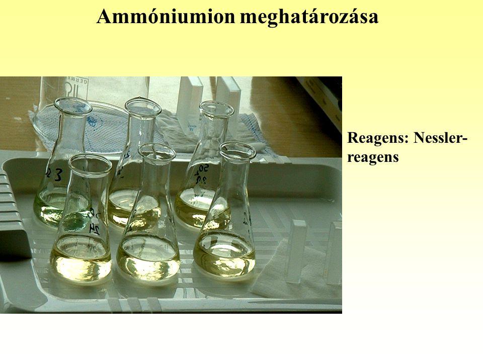 Ammóniumion meghatározása Reagens: Nessler- reagens