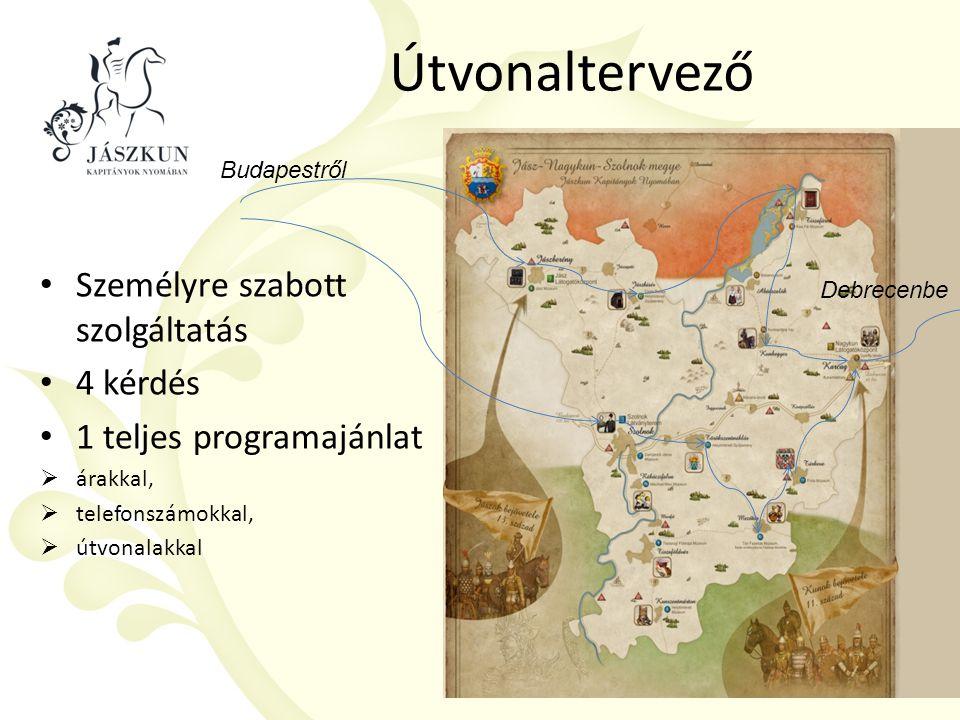 Útvonaltervező Személyre szabott szolgáltatás 4 kérdés 1 teljes programajánlat  árakkal,  telefonszámokkal,  útvonalakkal Budapestről Debrecenbe