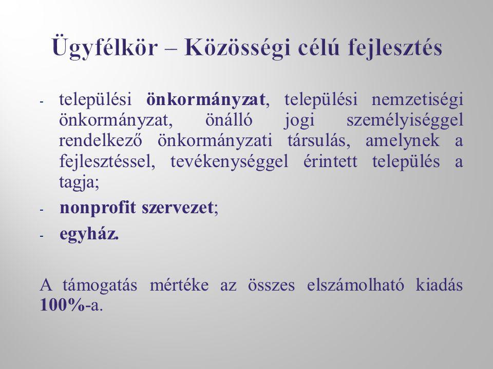 - települési önkormányzat, települési nemzetiségi önkormányzat, önálló jogi személyiséggel rendelkező önkormányzati társulás, amelynek a fejlesztéssel