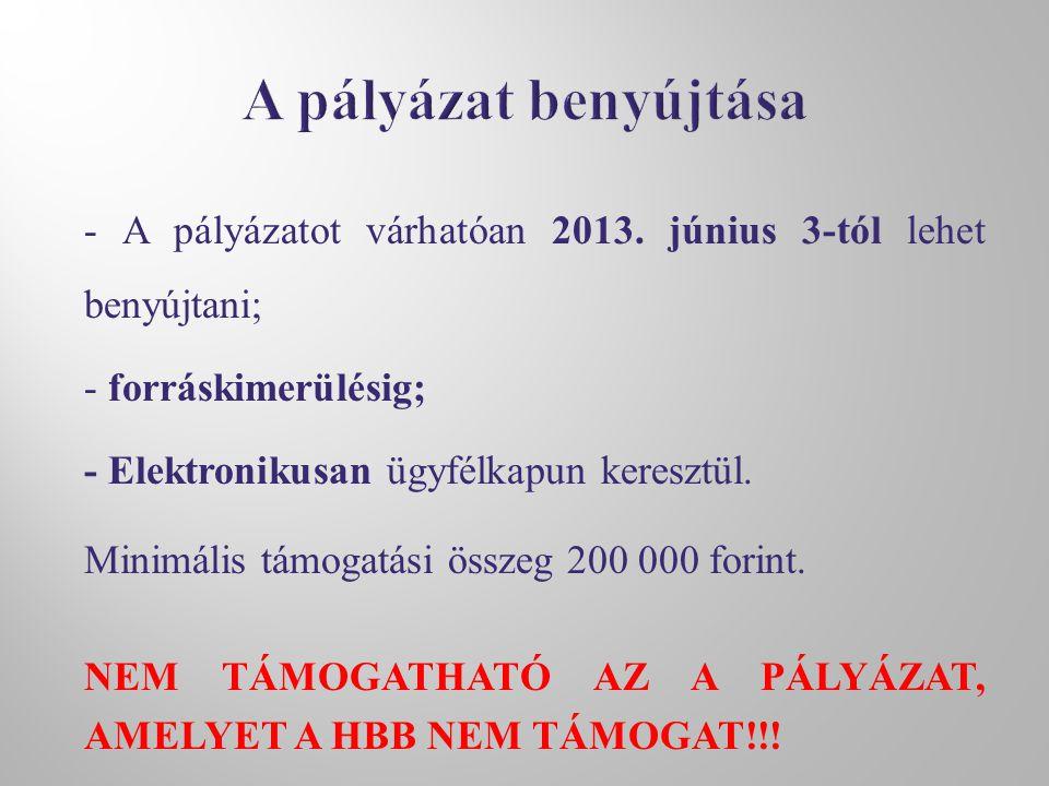 - A pályázatot várhatóan 2013. június 3-tól lehet benyújtani; - forráskimerülésig; - Elektronikusan ügyfélkapun keresztül. Minimális támogatási összeg