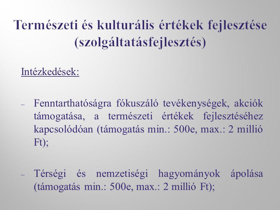 Intézkedések: – Fenntarthatóságra fókuszáló tevékenységek, akciók támogatása, a természeti értékek fejlesztéséhez kapcsolódóan (támogatás min.: 500e, max.: 2 millió Ft); – Térségi és nemzetiségi hagyományok ápolása (támogatás min.: 500e, max.: 2 millió Ft);