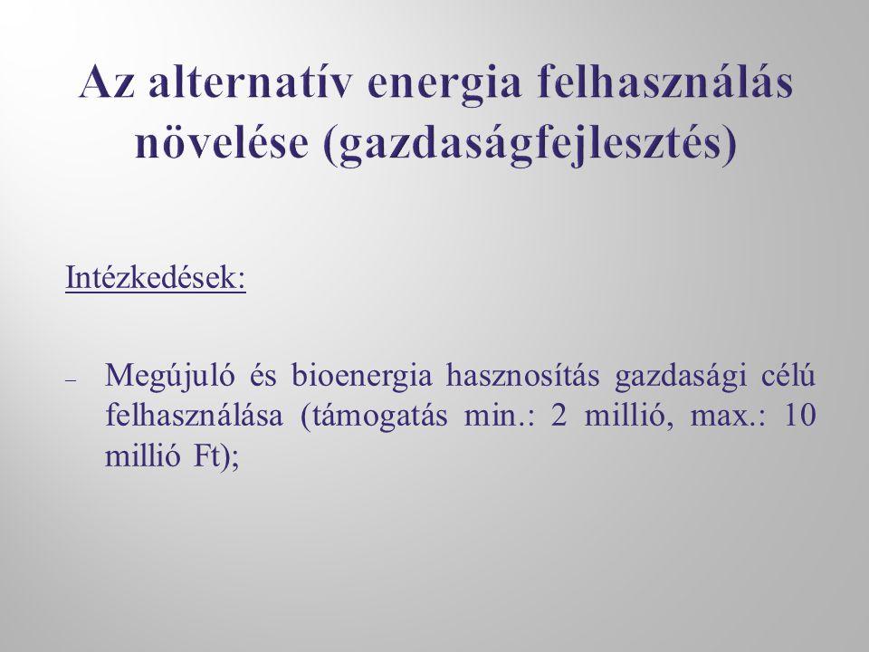 Intézkedések: – Megújuló és bioenergia hasznosítás gazdasági célú felhasználása (támogatás min.: 2 millió, max.: 10 millió Ft);