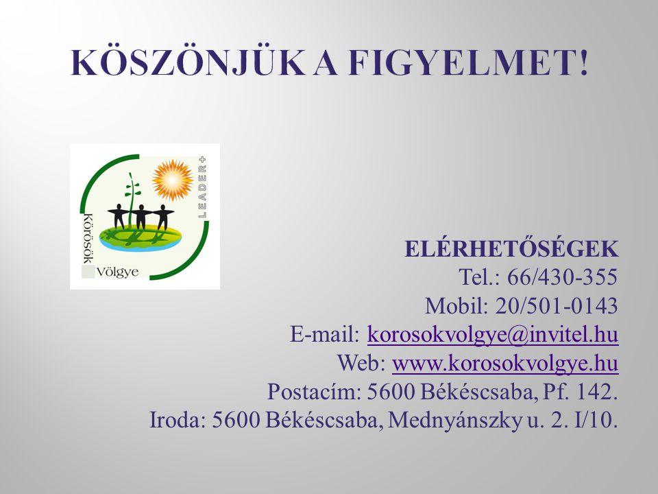 ELÉRHETŐSÉGEK Tel.: 66/430-355 Mobil: 20/501-0143 E-mail: korosokvolgye@invitel.hukorosokvolgye@invitel.hu Web: www.korosokvolgye.huwww.korosokvolgye.