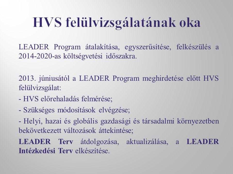 LEADER Program átalakítása, egyszerűsítése, felkészülés a 2014-2020-as költségvetési időszakra. 2013. júniusától a LEADER Program meghirdetése előtt H