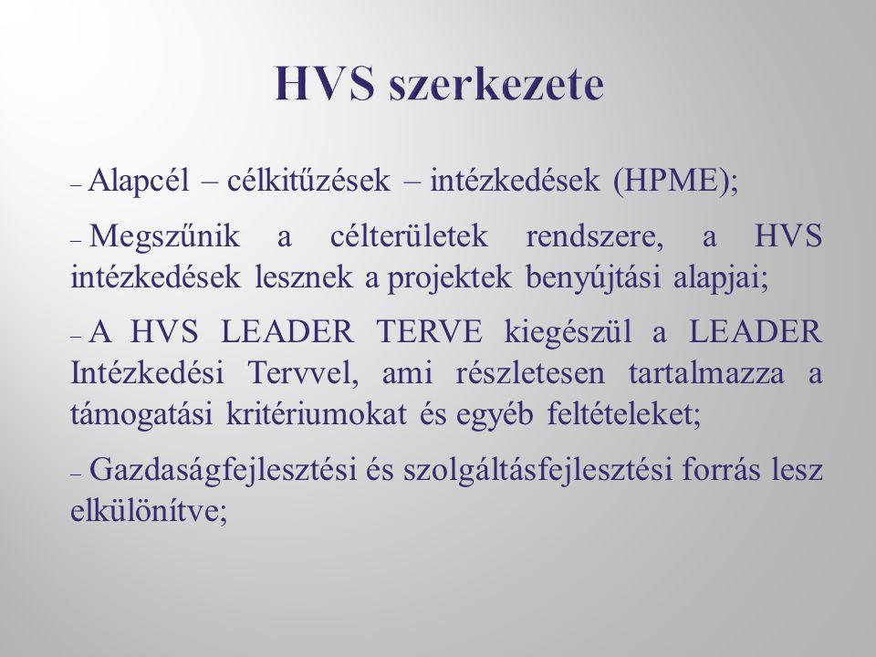 – Alapcél – célkitűzések – intézkedések (HPME); – Megszűnik a célterületek rendszere, a HVS intézkedések lesznek a projektek benyújtási alapjai; – A HVS LEADER TERVE kiegészül a LEADER Intézkedési Tervvel, ami részletesen tartalmazza a támogatási kritériumokat és egyéb feltételeket; – Gazdaságfejlesztési és szolgáltásfejlesztési forrás lesz elkülönítve;