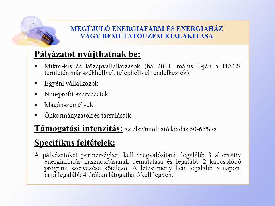 MEGÚJULÓ ENERGIAFARM ÉS ENERGIAHÁZ VAGY BEMUTATÓÜZEM KIALAKÍTÁSA Pályázatot nyújthatnak be:  Mikro-kis és középvállalkozások (ha 2011.
