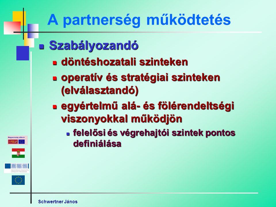 Schwertner János A partnerség működtetés Szabályozandó Szabályozandó döntéshozatali szinteken döntéshozatali szinteken operatív és stratégiai szinteken (elválasztandó) operatív és stratégiai szinteken (elválasztandó) egyértelmű alá- és fölérendeltségi viszonyokkal működjön egyértelmű alá- és fölérendeltségi viszonyokkal működjön felelősi és végrehajtói szintek pontos definiálása felelősi és végrehajtói szintek pontos definiálása