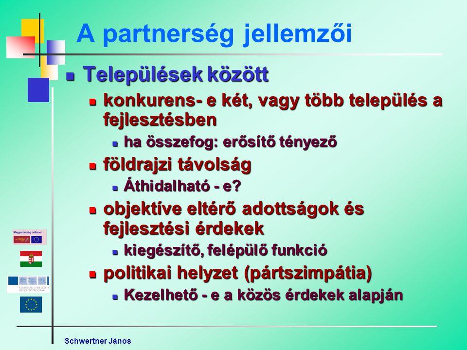 Schwertner János A partnerség jellemzői Települések között Települések között konkurens- e két, vagy több település a fejlesztésben konkurens- e két, vagy több település a fejlesztésben ha összefog: erősítő tényező ha összefog: erősítő tényező földrajzi távolság földrajzi távolság Áthidalható - e.