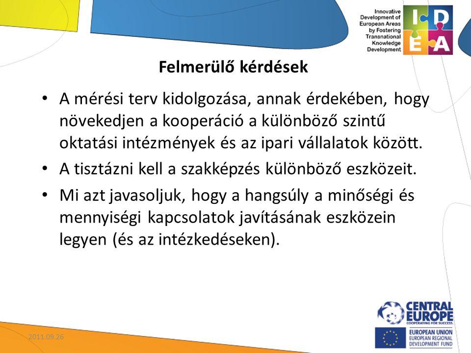 A mérési terv kidolgozása, annak érdekében, hogy növekedjen a kooperáció a különböző szintű oktatási intézmények és az ipari vállalatok között.