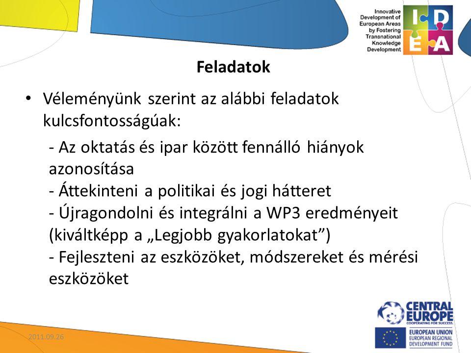"""Véleményünk szerint az alábbi feladatok kulcsfontosságúak: - Az oktatás és ipar között fennálló hiányok azonosítása - Áttekinteni a politikai és jogi hátteret - Újragondolni és integrálni a WP3 eredményeit (kiváltképp a """"Legjobb gyakorlatokat ) - Fejleszteni az eszközöket, módszereket és mérési eszközöket Feladatok 2011.09.26"""
