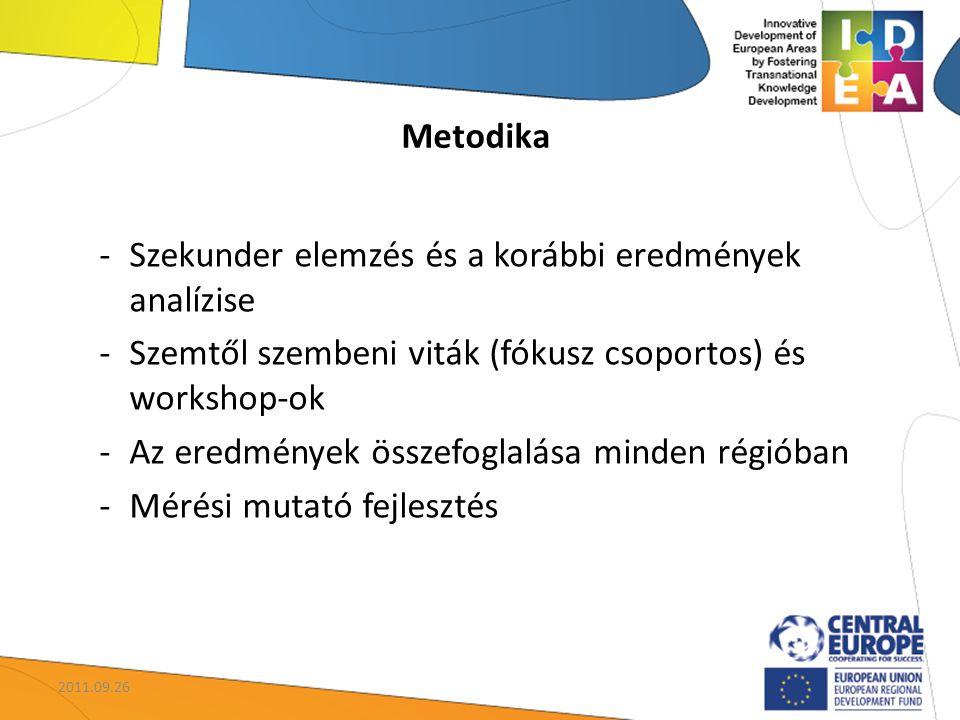 -Szekunder elemzés és a korábbi eredmények analízise -Szemtől szembeni viták (fókusz csoportos) és workshop-ok -Az eredmények összefoglalása minden ré