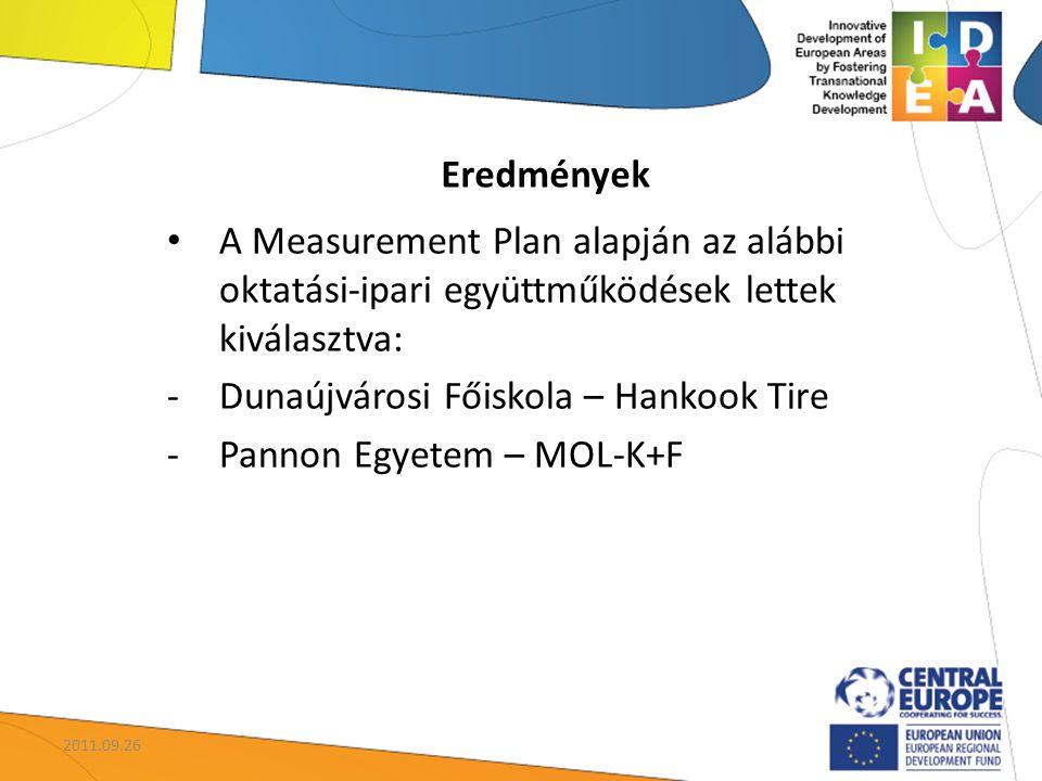 Eredmények A Measurement Plan alapján az alábbi oktatási-ipari együttműködések lettek kiválasztva: -Dunaújvárosi Főiskola – Hankook Tire -Pannon Egyetem – MOL-K+F 2011.09.26