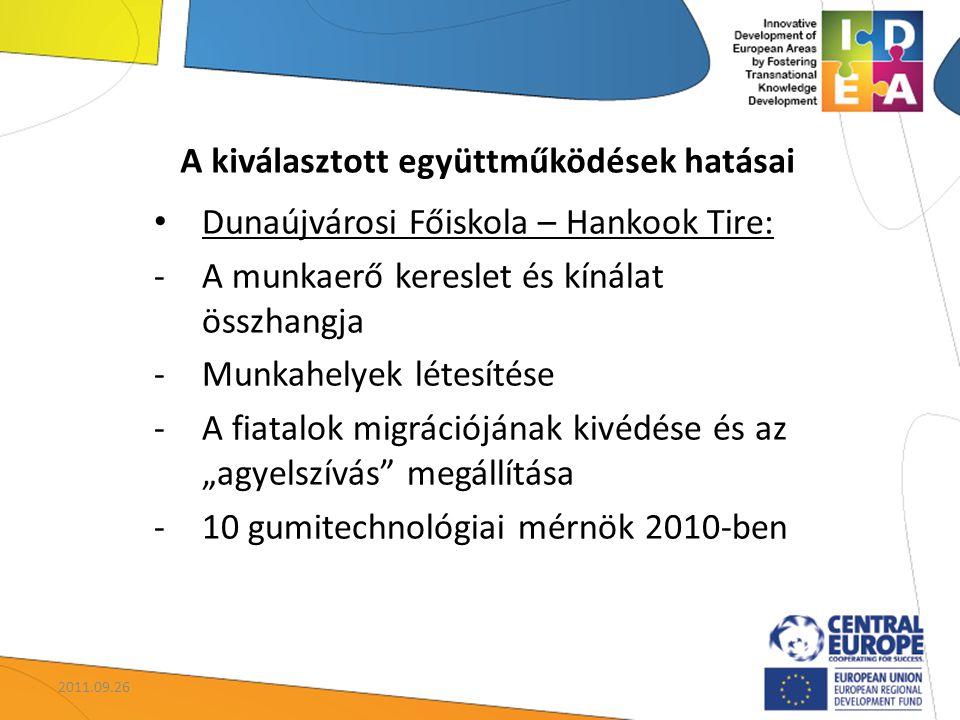 """A kiválasztott együttműködések hatásai Dunaújvárosi Főiskola – Hankook Tire: -A munkaerő kereslet és kínálat összhangja -Munkahelyek létesítése -A fiatalok migrációjának kivédése és az """"agyelszívás megállítása -10 gumitechnológiai mérnök 2010-ben 2011.09.26"""