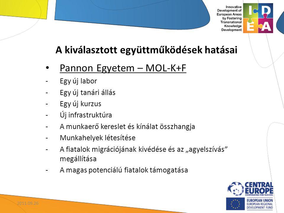 """A kiválasztott együttműködések hatásai Pannon Egyetem – MOL-K+F -Egy új labor -Egy új tanári állás -Egy új kurzus -Új infrastruktúra -A munkaerő kereslet és kínálat összhangja -Munkahelyek létesítése -A fiatalok migrációjának kivédése és az """"agyelszívás megállítása -A magas potenciálú fiatalok támogatása 2011.09.26"""