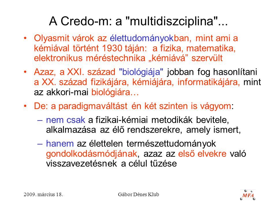 2009.március 18.Gábor Dénes Klub A Credo-m: a multidiszciplina ...