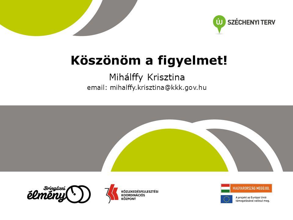 Köszönöm a figyelmet! Mihálffy Krisztina email: mihalffy.krisztina@kkk.gov.hu