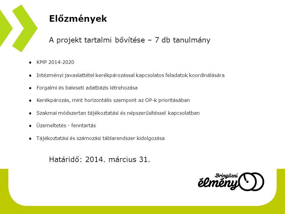 Előzmények A projekt tartalmi bővítése – 7 db tanulmány ● KMP 2014-2020 bevezető ● Intézményi javaslattétel kerékpározással kapcsolatos feladatok koor
