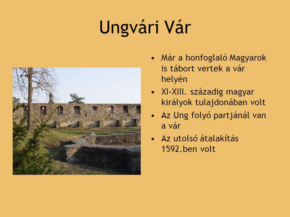Ungvári Vár Már a honfoglaló Magyarok is tábort vertek a vár helyén XI-XIII. századig magyar királyok tulajdonában volt Az Ung folyó partjánál van a v