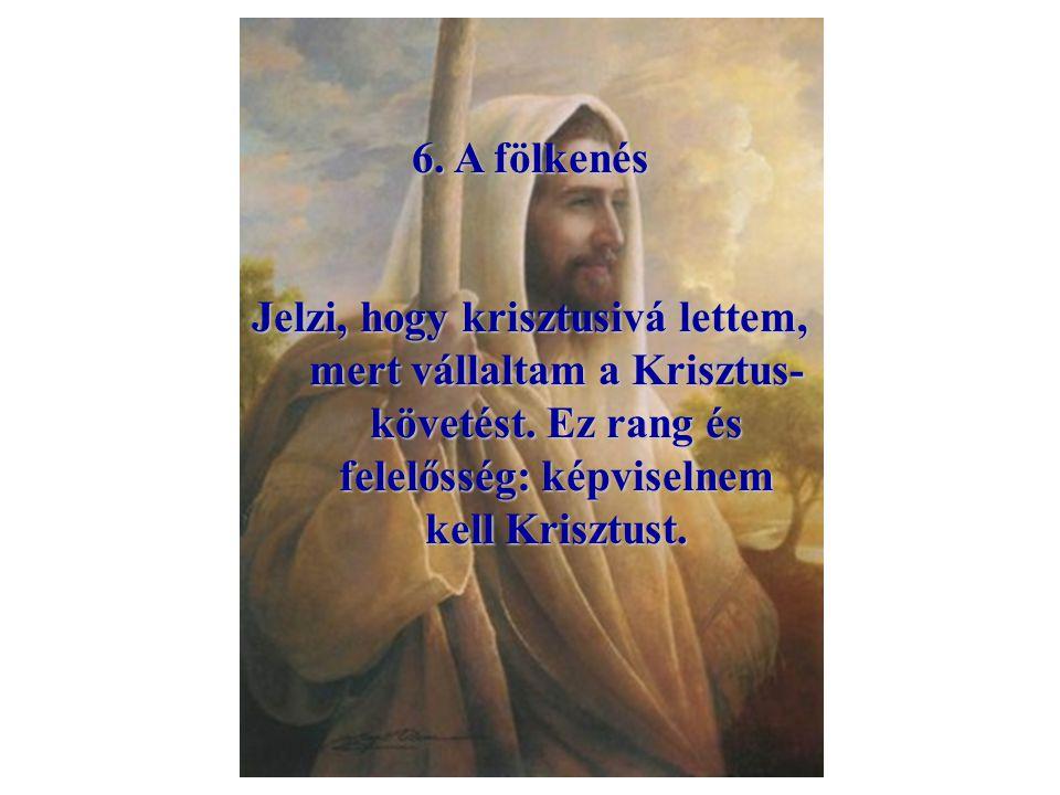 5. Égő gyertya Jelzi, hogy Krisztus világossága gyúlt a lelkemben, és hogy Krisztus világosságát kell árasztanom (jó példával).