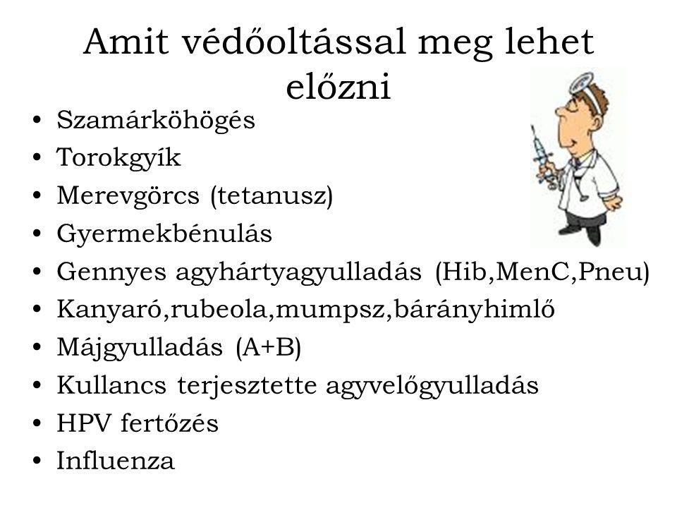 Amit védőoltással meg lehet előzni Szamárköhögés Torokgyík Merevgörcs (tetanusz) Gyermekbénulás Gennyes agyhártyagyulladás (Hib,MenC,Pneu) Kanyaró,rub